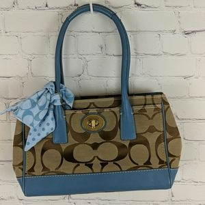 Coach Purse in Light Blue Leather and Canvas